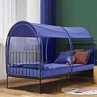 Leedor Bed Tent Dream Tents 床顶篷遮阳棚小屋室内隐私保暖透气弹出式双人尺寸适合儿童和成人*申请中(床垫不包括在内) 网眼*蓝 全部 LUS-2006MB