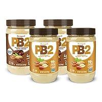 PB2 粉末花生酱和巧克力花生酱 1磅(4包(每种口味2个))
