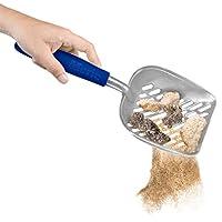 Meric 猫砂勺,钢制宠物粪便铲,带橡胶手柄,蓝色带方便的悬挂孔,非常适合暹罗、Calico、Maine Coon 和虎斑猫