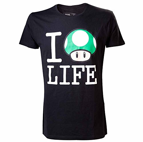 nintendo super mario bros i love mushroom life shirt (x-large