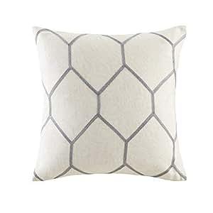 "Madison Park Brooklyn 金属几何图案刺绣枕头对 灰色 20x20"" MP30-4368"