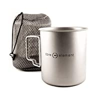 Core Element 雙用途野營馬克杯或帶蓋罐 - * 鈦 750 毫升/ 25 盎司適合開放火焰直接火焰(3.75 長 X 3.75 寬 X 4.5 高) - 折疊手柄 - 節省空間 - 易清潔