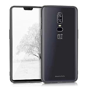 kwmobile 水晶手机壳 OnePlus 6 - 柔软有弹性 TPU 硅胶后门保护壳 - 黑色透明