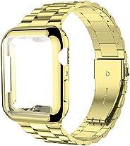 iiteeology 兼容 Apple Watch 表帶 44 毫米帶屏幕保護殼,[*] 不銹鋼鏈接替換表帶適用于 iWatch 系列 5 4 金色/金色