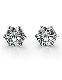 纯银 6 爪镶锆石钻石耳钉女式 925 印章