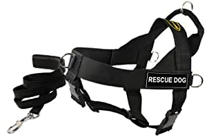 Dean and Tyler Bundle One DT Universal Harness, Recovery K9, XLarge (36, 47) + One Padded Puppy Leash, 6-Feet Stainless Steel Snap, Black