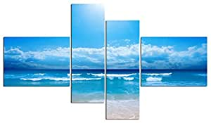 Sea Sandy Beach 清澈天空瀑布景观印象派墙壁艺术画布带框客厅家居装饰 HD 画 4 幅 透明蓝色 40x30cm*2&20x60cm*2(Framed)