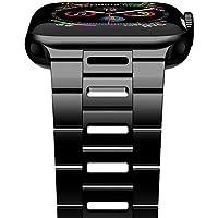 【新版】iiteeology 与 iWatch 表带 44mm 42mm 超薄透气不锈钢表带兼容苹果手表系列 5/4/3/2/ 1 男款iiteeologycwb4442 44mm/42mm Black