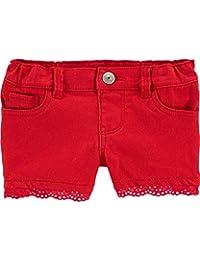 OshKosh B'Gosh 女婴可调节弹力腰部斜纹短裤带功能口袋 12 个月 红色