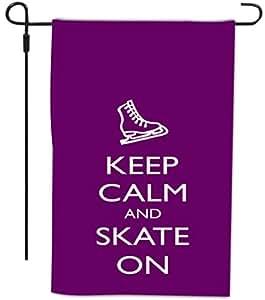 Rikki Knight Keep Calm and Skate 装饰房屋或花园全出血旗帜,30.48 x 45.72 厘米,紫色