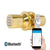 TurboLock TL-99 Bluetooth Smart Lock for Keyless Entry & Live Monitoring - Send & Delete eKeys w/ App on Demand (Polished Brass)