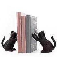Ambipolar 装饰猫主题书尾,重型铸铁,复古架装饰,古典黑色,T3-66