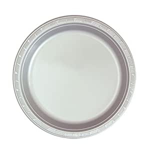 Hanna K. Signature Collection 50 Count Plastic Plate, 7-Inch, Silver