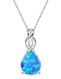 猫眼石项链纯银泪滴吊坠 10 月诞生石女士首饰 45.72 厘米 Sterling silver-blue