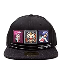 Meroncourt 中性款口袋妖怪队火箭棒球帽,均码,黑色/深灰色