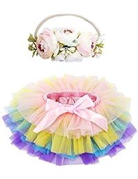 BGFKS 女婴柔软蓬松芭蕾舞短裙,带棉质尿布套,女童芭蕾舞短裙套装,带花朵头带