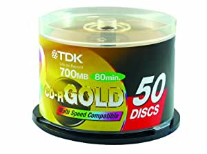 TDK CD-R80 52X 商务金盘 50片桶装 刻录盘