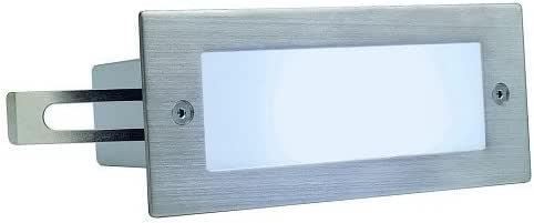 SLV 230231 BRICK LED 16 不锈钢 304 壁灯,刷子,1W,白色,IP44,钢,银灰色,