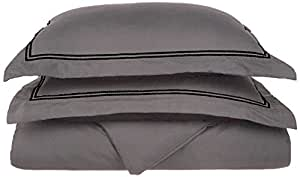 LUXOR TREASURES Super Soft, Light Weight, 100% Brushed Microfiber, Twin/Twin XL, Wrinkle Resistant, Grey Duvet Cover with Black 2-Line Embroidered Pillowshams in Gift Box