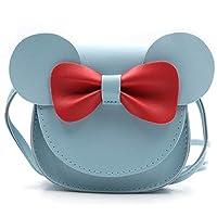 QiMing 小老鼠耳蝴蝶结斜挎包,PU 单肩手提包,适合儿童女孩幼儿 蓝色