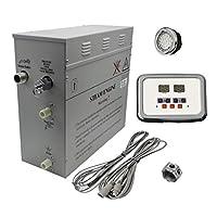 高级 9kW 自动排水蒸汽浴室发电机,带防水可编程控制和带自由光线的镀铬蒸汽插座