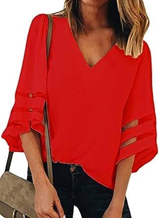 BLENCOT 女式 3/4 钟形袖 V 领蕾丝拼接衬衫休闲宽松衬衫上衣 红色 (US18-20) XX-Large