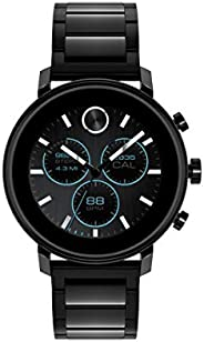 Movado Connect 2.0 男女通用,Google 不銹鋼和離子鍍黑色鋼智能手表,顏色:黑色(型號:3660037)