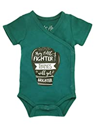 Boys' Preemie Onesie-*** Organic Cotton-'Hey Little Fighter Things Will Get Brighter' NICU Nurse Approved Clothing