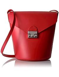 LOEFFLER RANDALL 女式 流苏斜跨袋 FLAPBCKT-VAFLAME 火焰红色 均码(亚马逊进口直采,美国品牌)