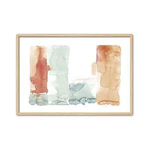 Cuadriman 抽象咖啡桌,木质,蓝色和橙色,60 x 40 厘米