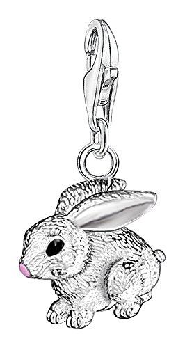THOMAS Sabo women-charm 吊坠兔子饰品俱乐部925标准纯银粉红色黑色0819–007–12