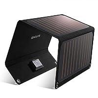 RAVPower 太阳能充电器 21W 太阳能电池板带双 USB 端口防水可折叠露营旅行充电器兼容 iPhone Xs XS Max XR X 8 7 Plus、iPad、Galaxy S9 S8 Edge Plus、Note、LG、Nexus 等