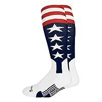 MadSportsStuff 美国国旗棒球爱国细纹短袜带星和条纹