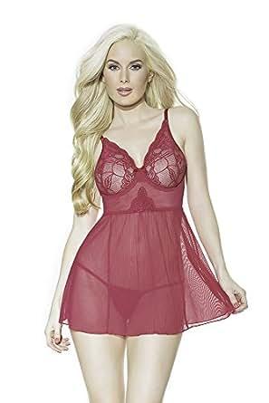 Coquette 女式网纱和扇形弹力蕾丝娃娃和丁字裤 Blush Berry Small