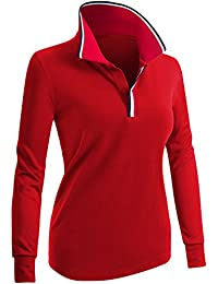 CLOVERY 女士 Polo 衫,尖领设计长袖