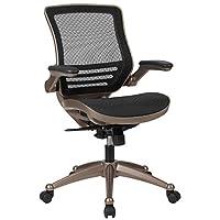 Flash Furniture 中背透明黑色网格行政旋转椅,带墨尔玫瑰金色框架和翻转臂