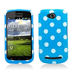 Aimo COOL5860PCPD302 Trendy Polka Dot Hard Snap-On Protective Case for Coolpad Quattro 4G 5860e - Retail Packaging - Light Blue/White