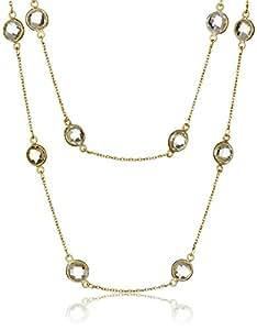 2 排嵌套切面黄水晶边框站,镀金纯银链条和搭扣项链