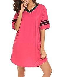 Ekouaer 睡衣女式加大码睡衣运动衫 V 领吊带内衣