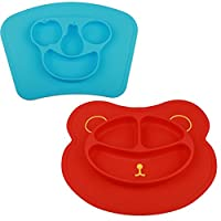 mockins 2 pack Mess Free Silicone Suction Baby Placemat 蓝色 Red Bear & Blue Fruit