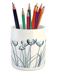 "Ambesonne 棕色铅笔架,豹纹印花动物皮肤数字印刷 野生非洲 Safari 主题斑点图案艺术,印花陶瓷铅笔筒办公配件,棕色 Multi 3 3.6"" H By 3.2"" W pen_14457"