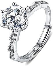 莫桑石订婚圆形戒指 2.2 克拉 6 爪 18K 白金镀银 D 颜色理想切割钻石婚戒,女士佩戴真品证书,均码