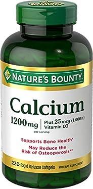 Nature's Bounty 自然之宝 碳酸钙片和维生素D3矿物质补充剂,可增强骨头强度,1200毫克,22