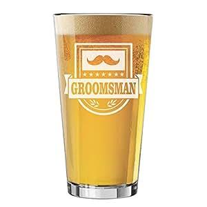 My Personal Memories 单品脱玻璃杯,适合单身派对、婚礼、婚礼礼物、啤*礼品 Groomsman Glass Badge Style 16oz MPM0354