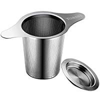 """Yoassi Extra Fine FDA Approved 8/18 Stainless Steel Tea Infuser Mesh Strainer with Large Capacity & Perfect Size Double Handles for Hanging on Teapots, Mugs, Cups to steep Loose Leaf Tea and Coffee 银色 5""""with handle"""