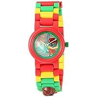乐高蝙蝠侠电影 8020868 罗宾儿童迷你人偶链接可搭建手表,红色/绿色 – 塑料 – 25 毫米表壳直径– 模拟石英 男孩女孩 – 官方