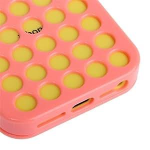 JUJEO 空心圆点设计触屏翻盖塑料手机壳 iPhone 5C - 非零售包装 - 粉色