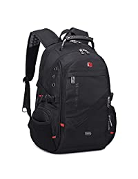WEMGE军刀双肩包男士背包商务瑞士电脑包大容量多功能军刀系列休闲旅行黑色