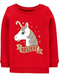 Carter's 圣诞闪光独角兽相信圆领红色套头运动衫,羊毛衬里,6 个月