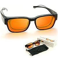 青少年款 99.5% 蓝色屏蔽电脑眼镜 | 适合*眼镜 | 琥珀橙色到遮阳蓝光 | 更好的夜间*和减少眼部* | 适合儿童和成人